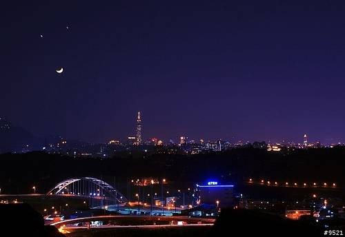 Venus, Jupiter, and the Crescent Moon on Dec. 1, 2008 in Kuala Lumpur, Malaysia